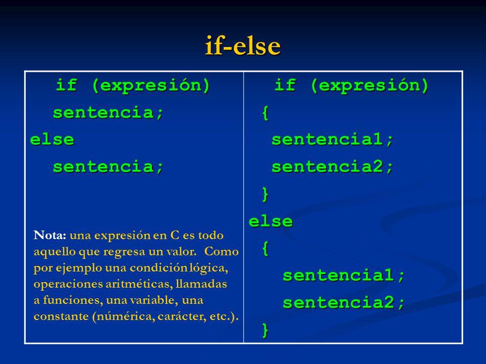 if-else if (expresión) sentencia; else { sentencia1; sentencia2; }