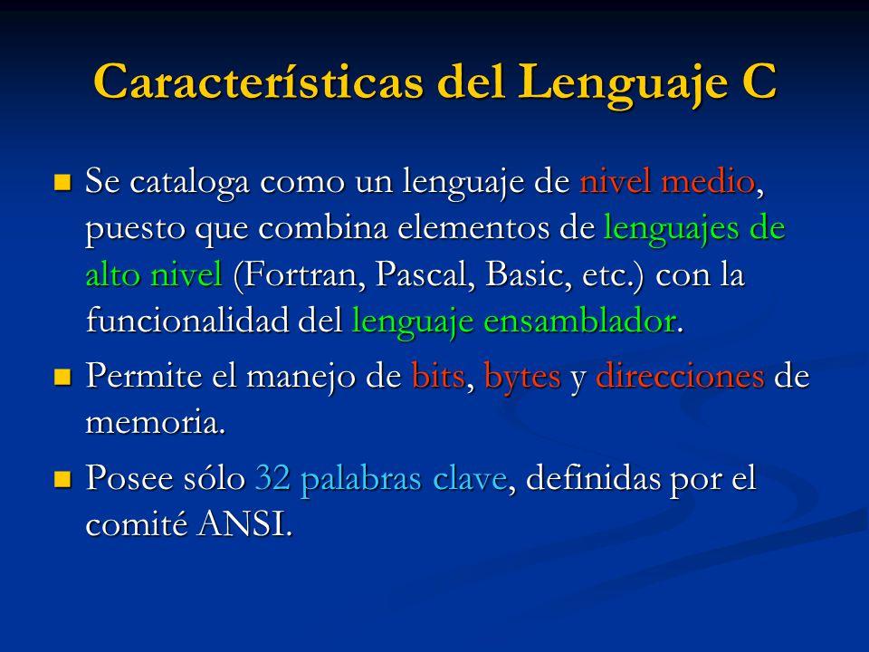 Características del Lenguaje C
