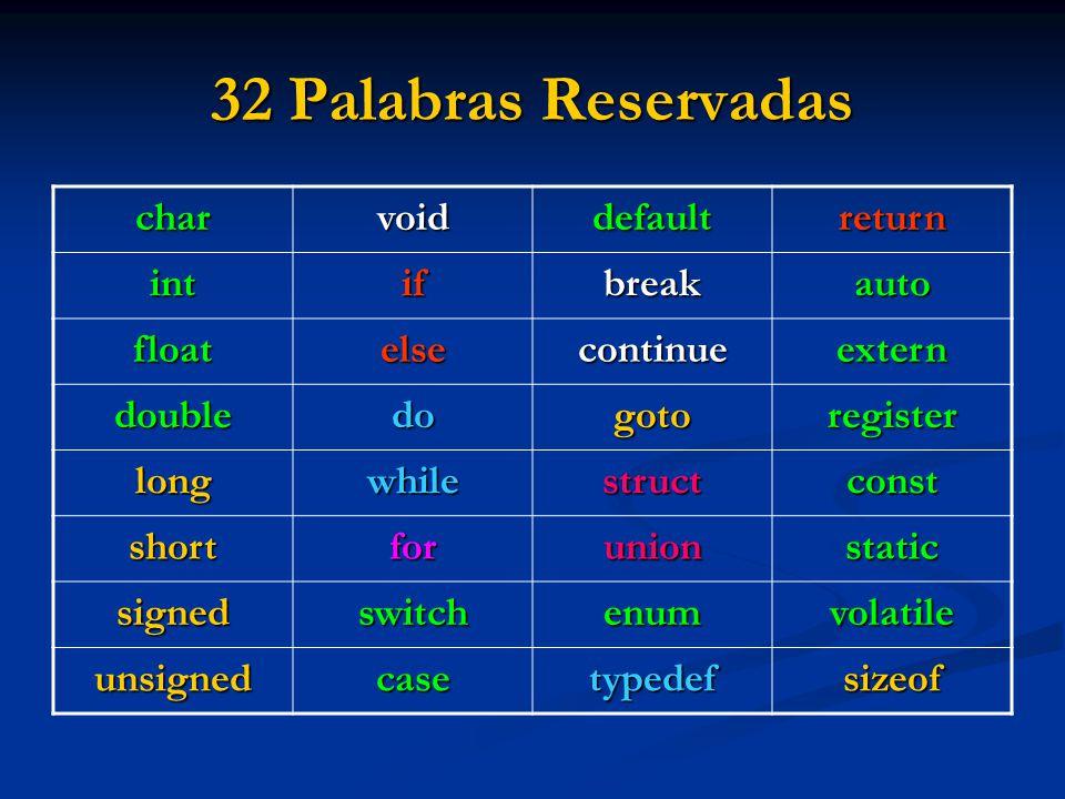 32 Palabras Reservadas char void default return int if break auto