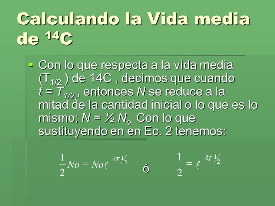 Calculando la Vida media de 14C