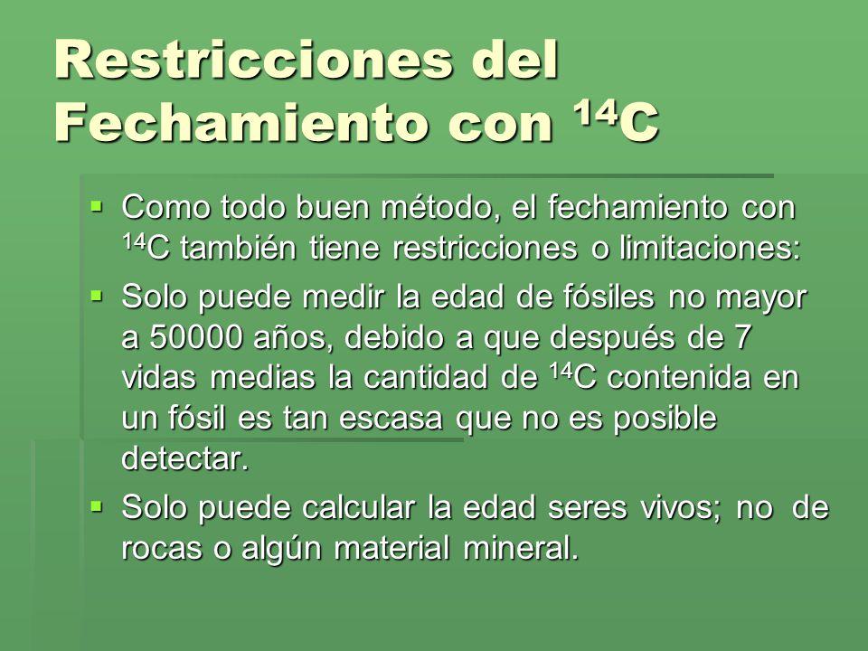 Restricciones del Fechamiento con 14C