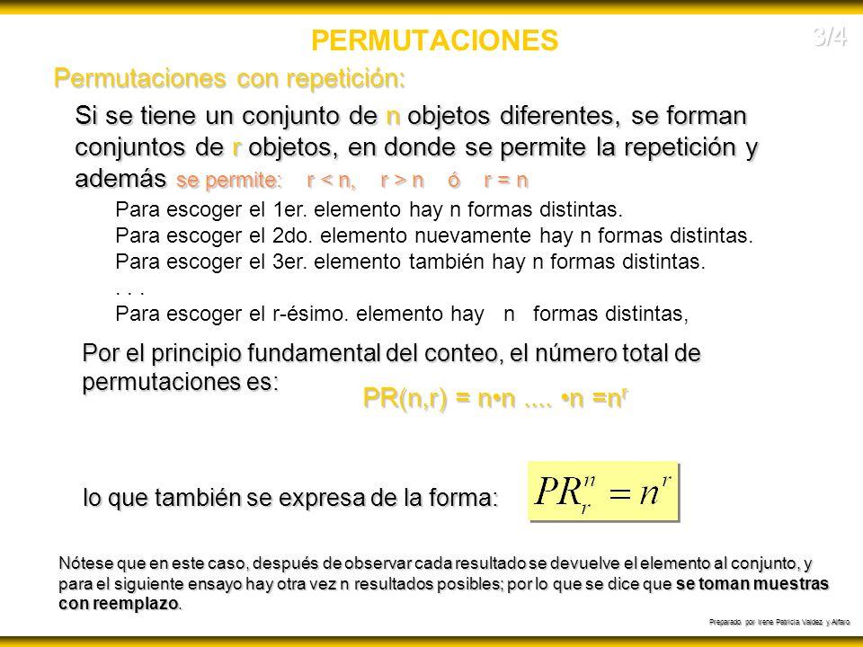 PERMUTACIONES 3/4 Permutaciones con repetición: