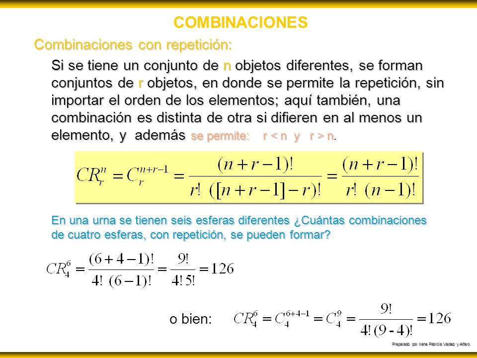 COMBINACIONES Combinaciones con repetición: