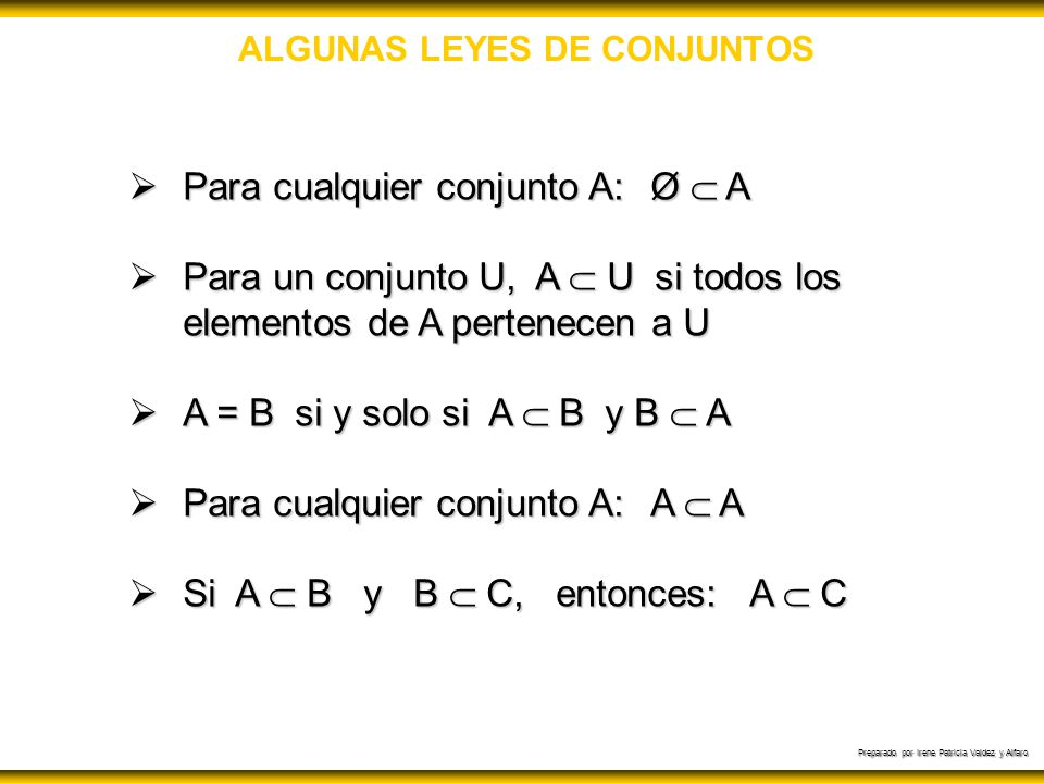 ALGUNAS LEYES DE CONJUNTOS