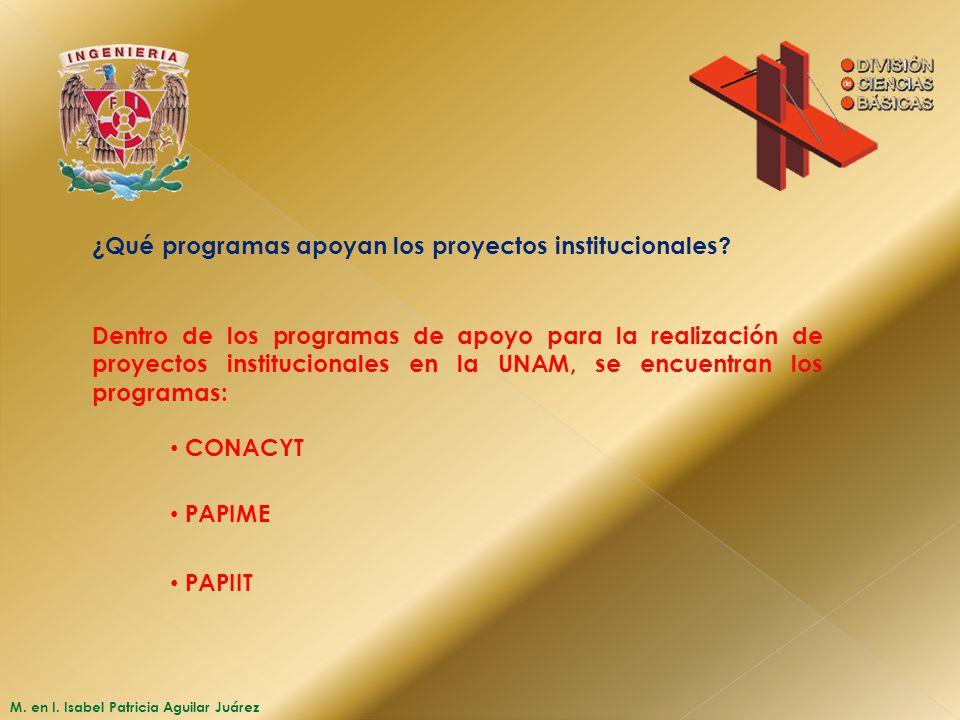 ¿Qué programas apoyan los proyectos institucionales
