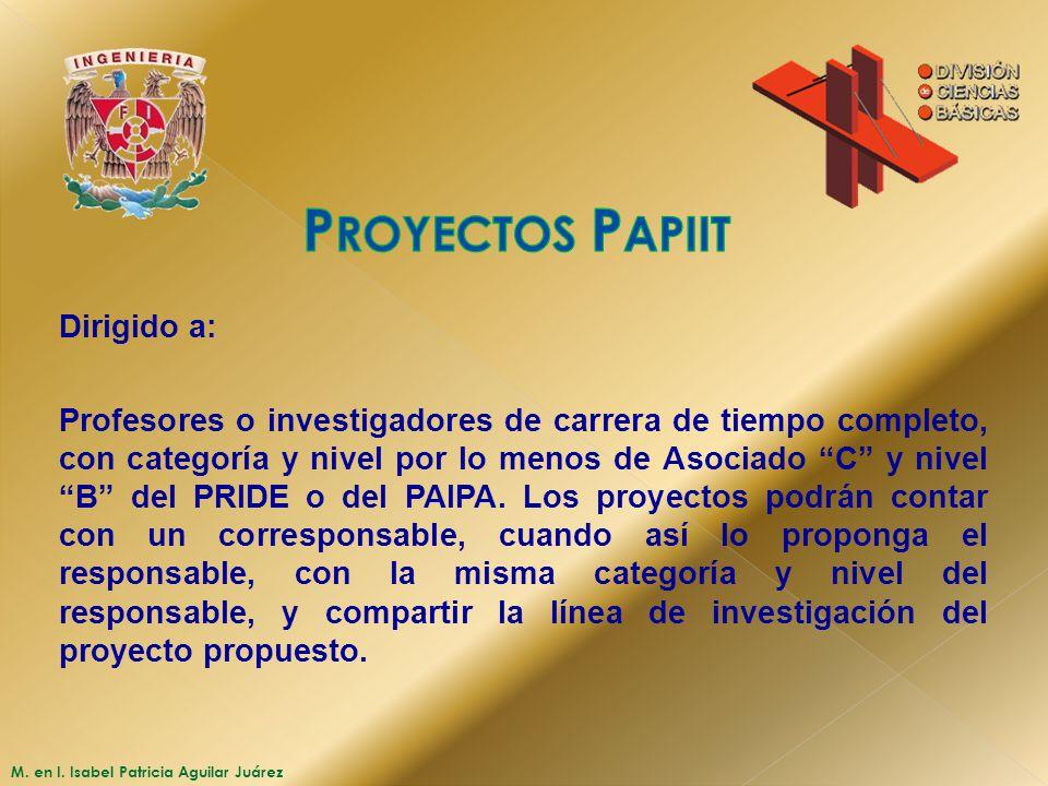 Proyectos Papiit Dirigido a: