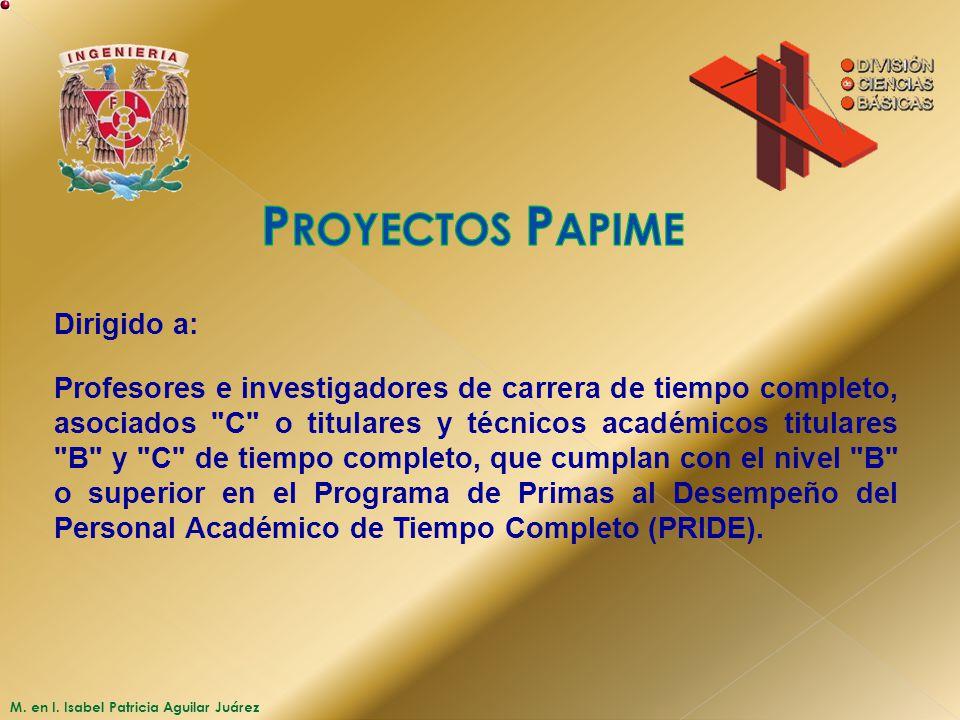 Proyectos Papime Dirigido a:
