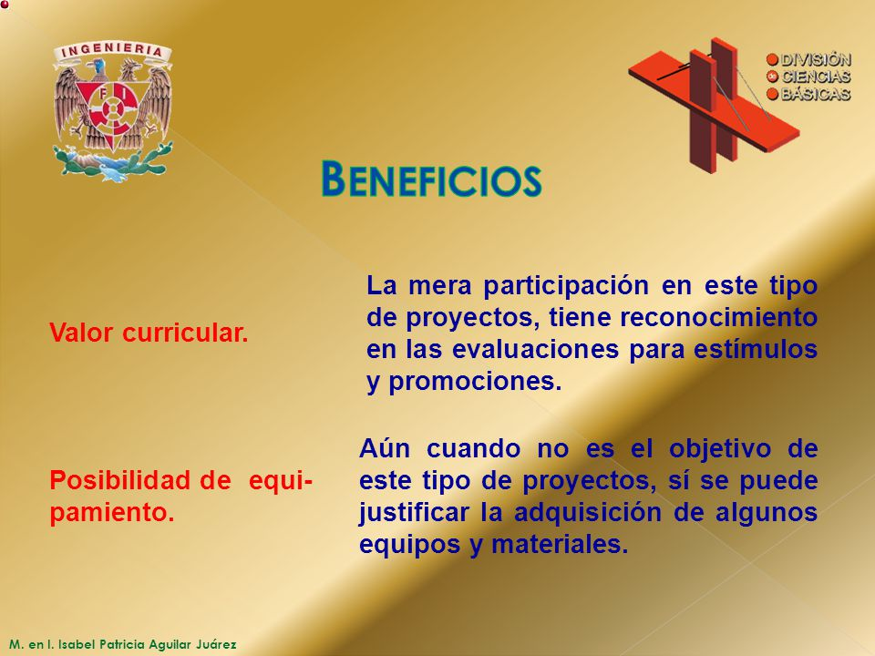 Beneficios Valor curricular.