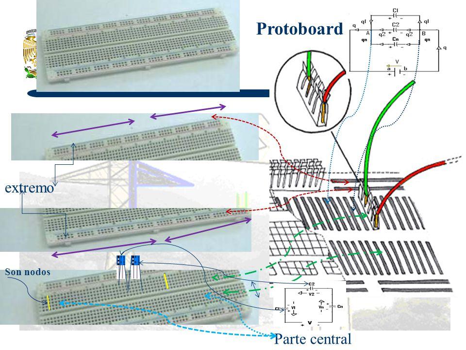 Protoboard extremo Son nodos Parte central