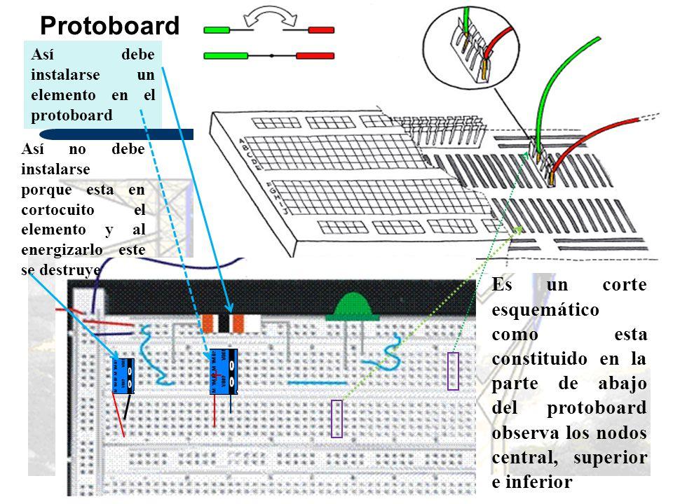 Protoboard Así debe instalarse un elemento en el protoboard.