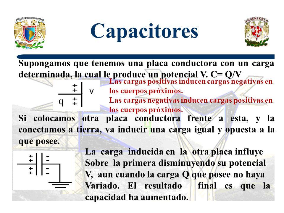 Capacitores Supongamos que tenemos una placa conductora con un carga determinada, la cual le produce un potencial V. C= Q/V.