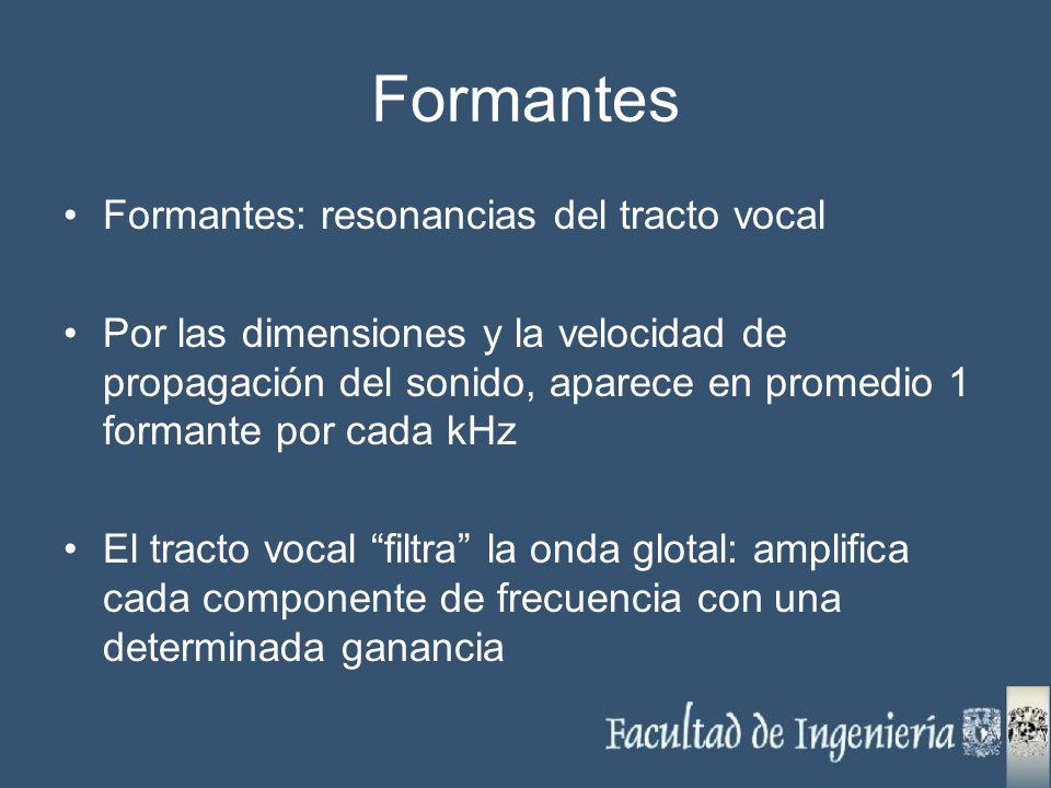 Formantes Formantes: resonancias del tracto vocal