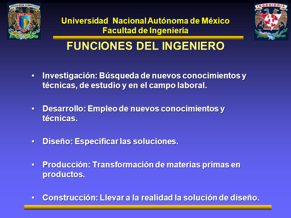 FUNCIONES DEL INGENIERO