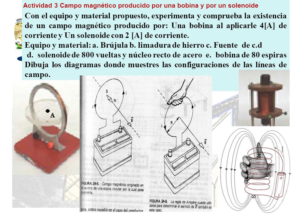 Equipo y material: a. Brújula b. limadura de hierro c. Fuente de c.d