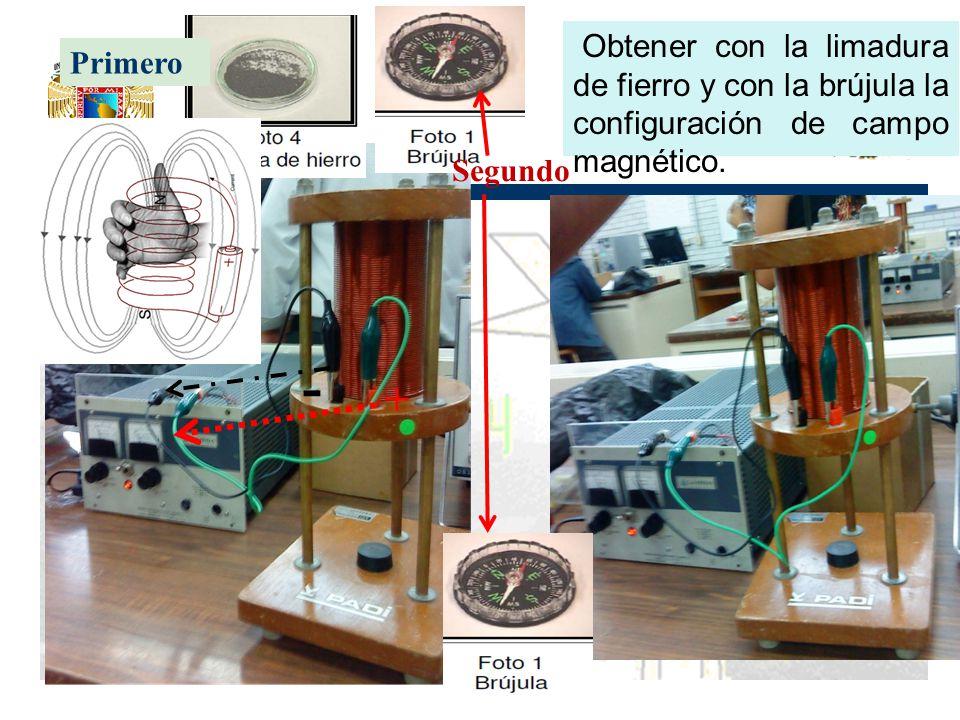 Obtener con la limadura de fierro y con la brújula la configuración de campo magnético.