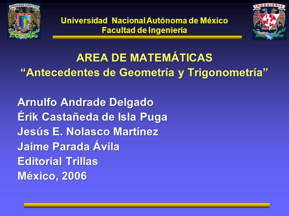 AREA DE MATEMÁTICAS Antecedentes de Geometría y Trigonometría