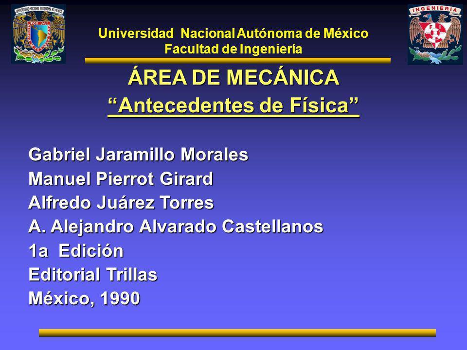 ÁREA DE MECÁNICA Antecedentes de Física