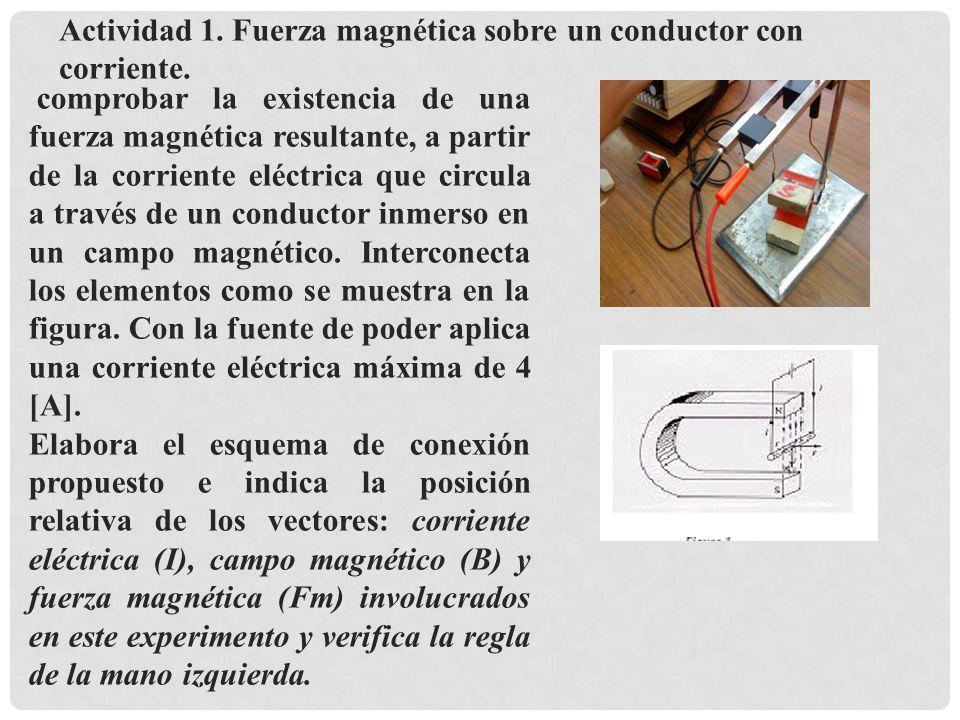 Actividad 1. Fuerza magnética sobre un conductor con corriente.