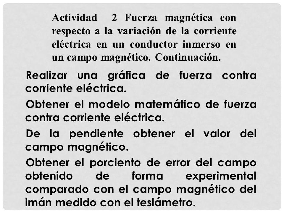 Actividad 2 Fuerza magnética con respecto a la variación de la corriente eléctrica en un conductor inmerso en un campo magnético. Continuación.