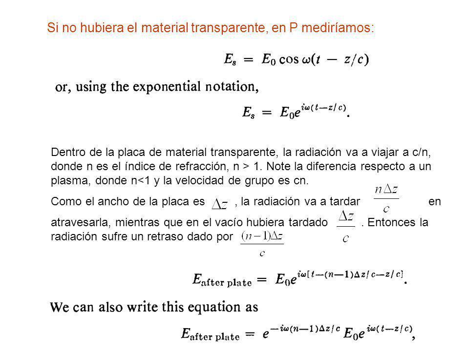 Si no hubiera el material transparente, en P mediríamos: