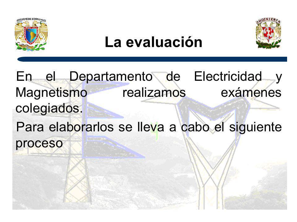 La evaluación En el Departamento de Electricidad y Magnetismo realizamos exámenes colegiados.
