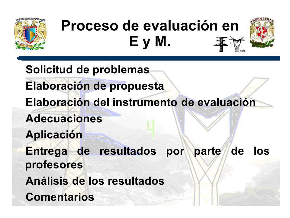 Proceso de evaluación en E y M.