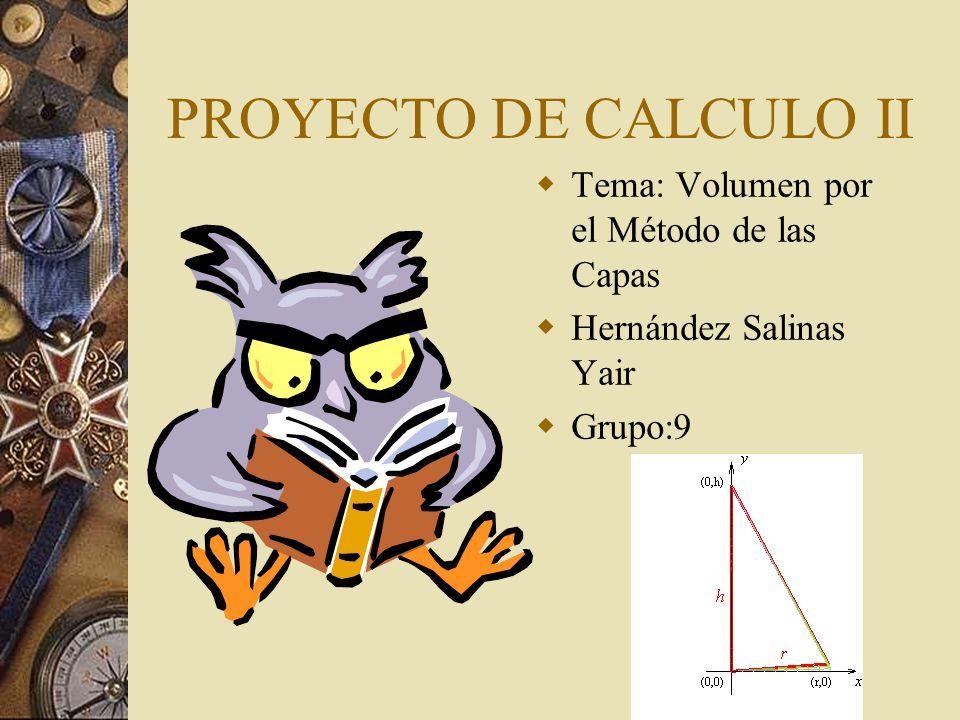 PROYECTO DE CALCULO II Tema: Volumen por el Método de las Capas