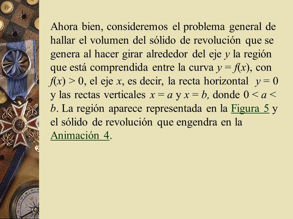 Ahora bien, consideremos el problema general de hallar el volumen del sólido de revolución que se genera al hacer girar alrededor del eje y la región que está comprendida entre la curva y = f(x), con f(x) > 0, el eje x, es decir, la recta horizontal y = 0 y las rectas verticales x = a y x = b, donde 0 < a < b.