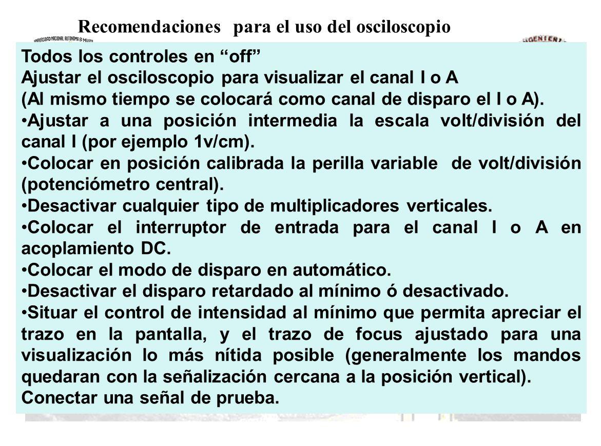 Recomendaciones para el uso del osciloscopio