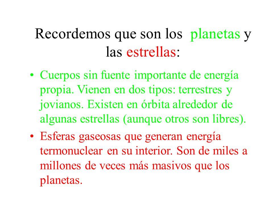 Recordemos que son los planetas y las estrellas: