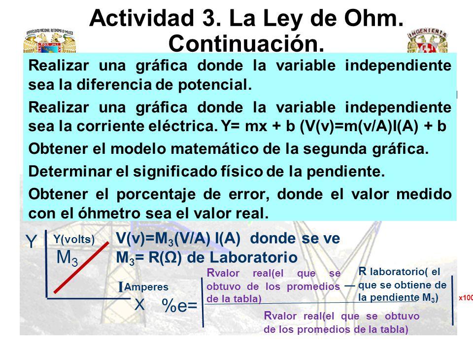Actividad 3. La Ley de Ohm. Continuación.