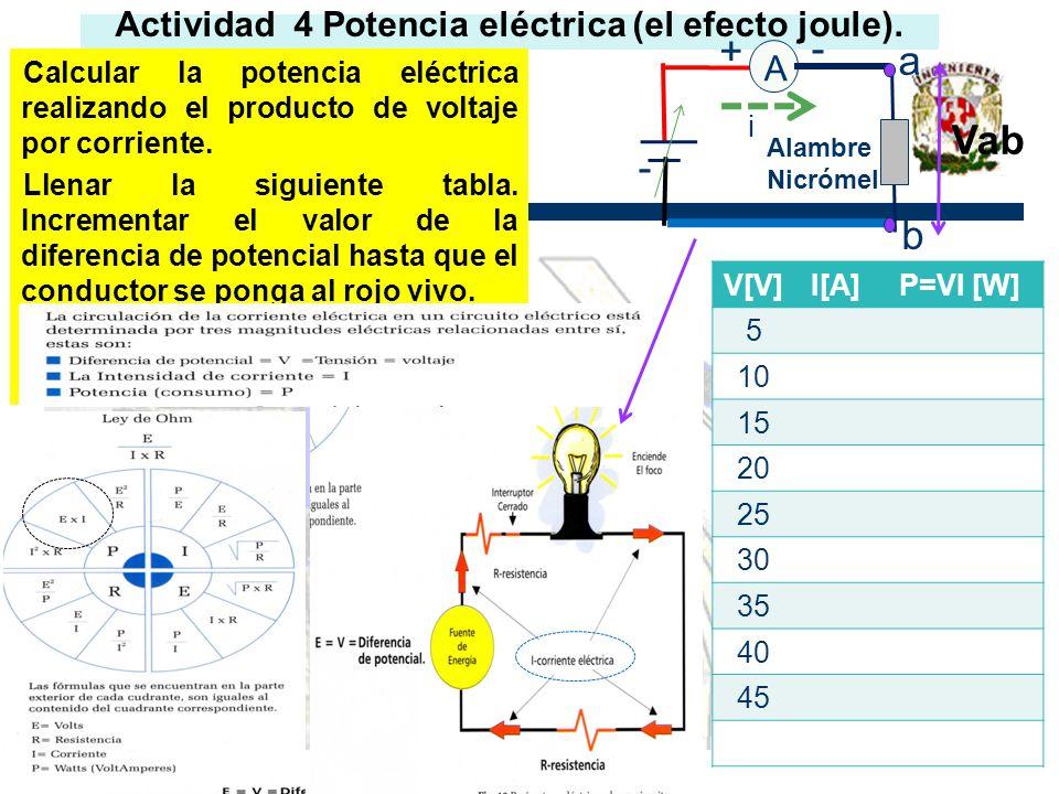 Actividad 4 Potencia eléctrica (el efecto joule).