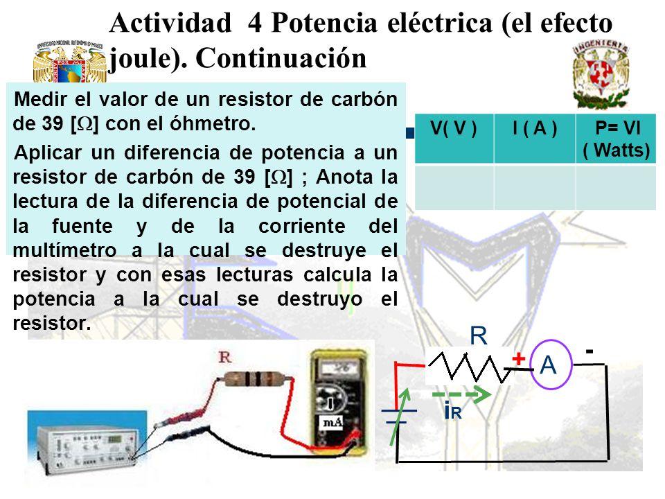 Actividad 4 Potencia eléctrica (el efecto joule). Continuación