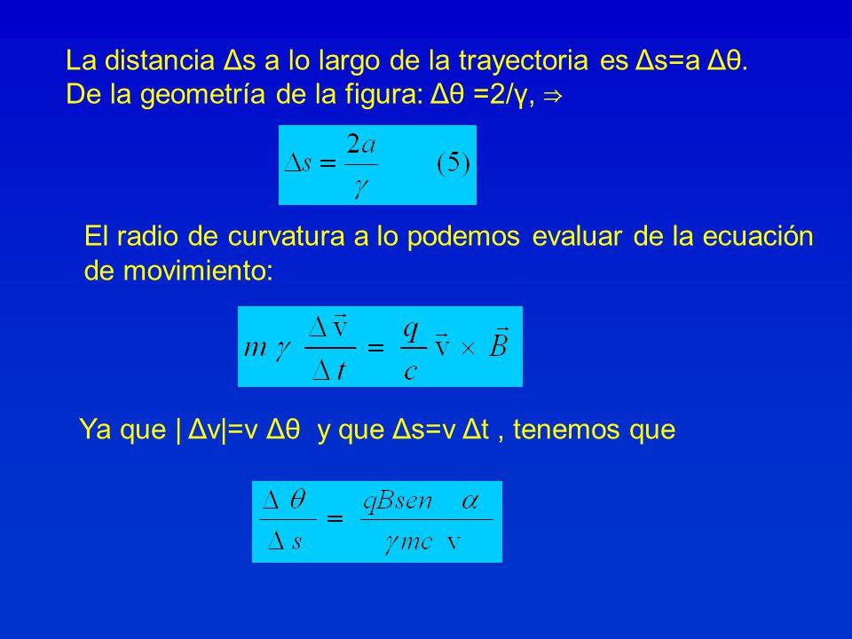 La distancia Δs a lo largo de la trayectoria es Δs=a Δθ.