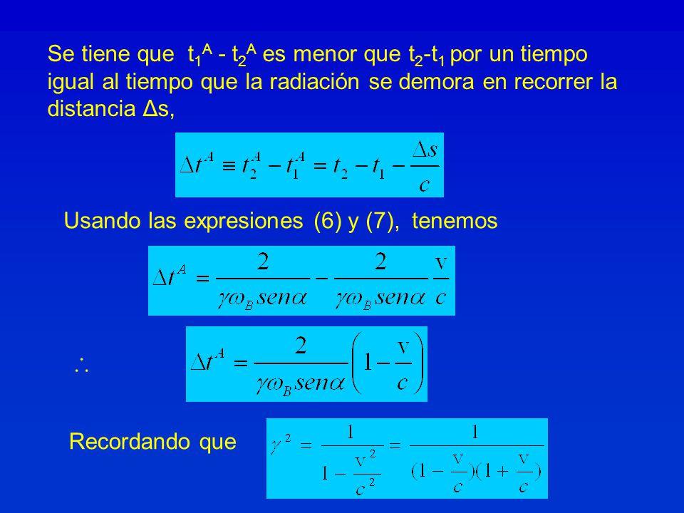 Se tiene que t1A - t2A es menor que t2-t1 por un tiempo igual al tiempo que la radiación se demora en recorrer la distancia Δs,