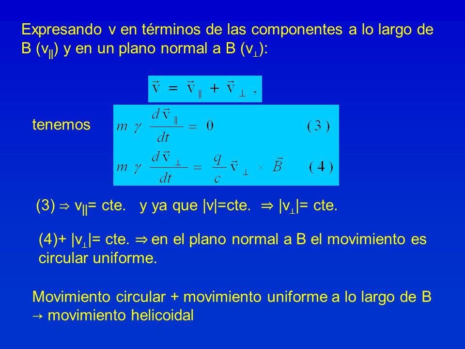 Expresando v en términos de las componentes a lo largo de B (v||) y en un plano normal a B (v⊥):