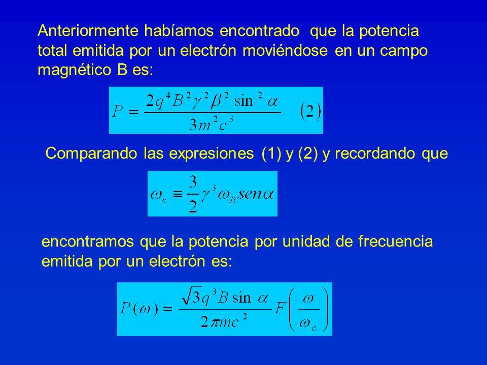 Anteriormente habíamos encontrado que la potencia total emitida por un electrón moviéndose en un campo magnético B es: