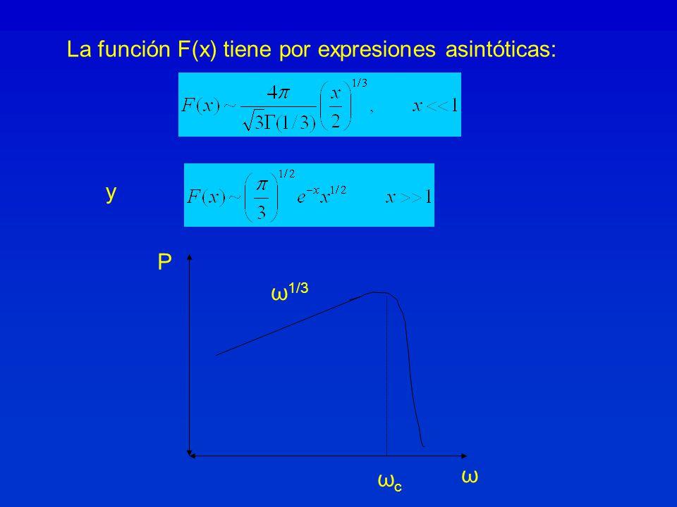 La función F(x) tiene por expresiones asintóticas: