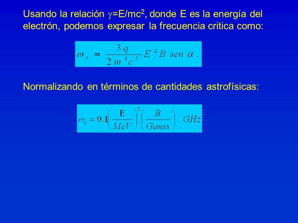 Usando la relación =E/mc2, donde E es la energía del