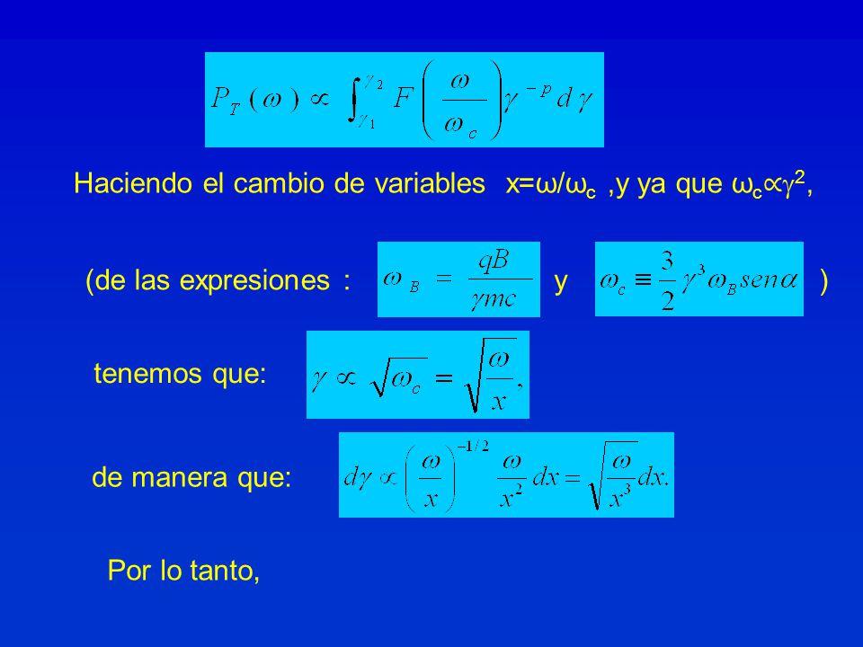 Haciendo el cambio de variables x=ω/ωc ,y ya que ωc∝2,
