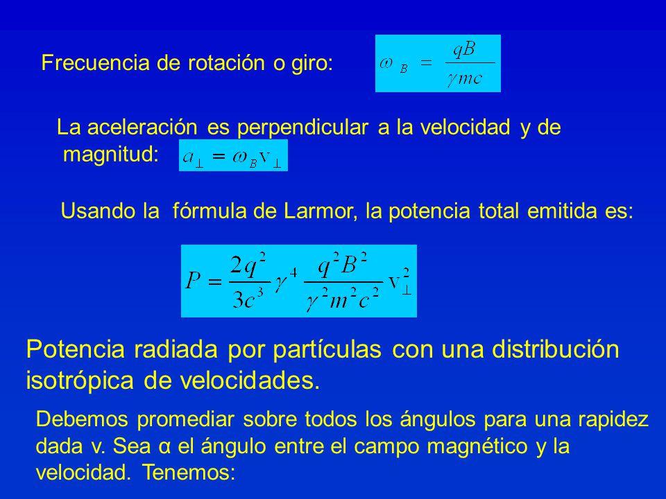 Potencia radiada por partículas con una distribución