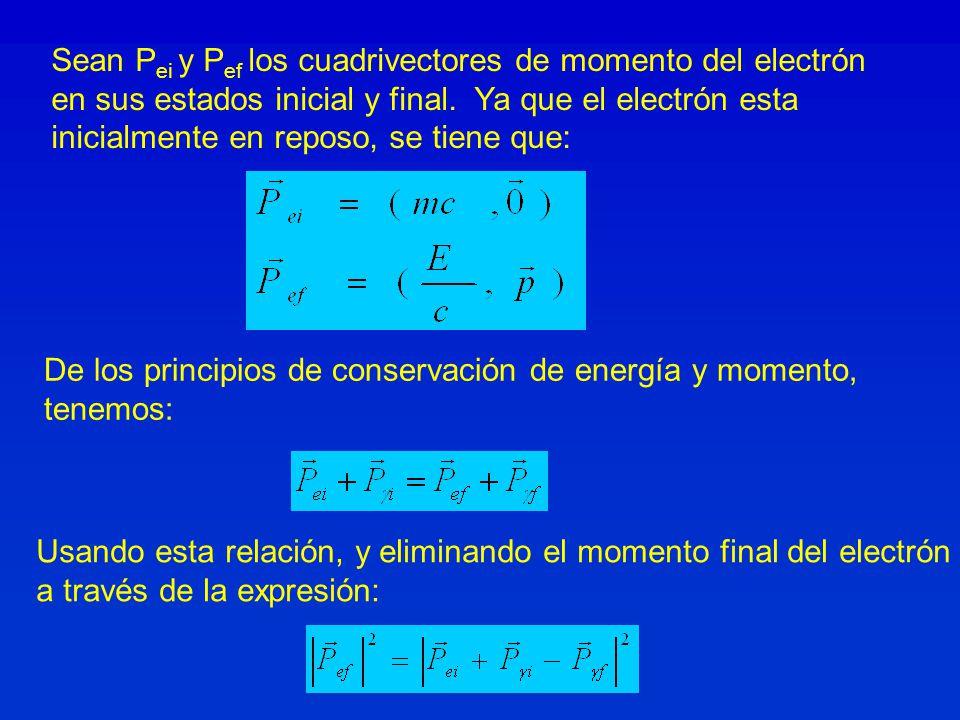Sean Pei y Pef los cuadrivectores de momento del electrón