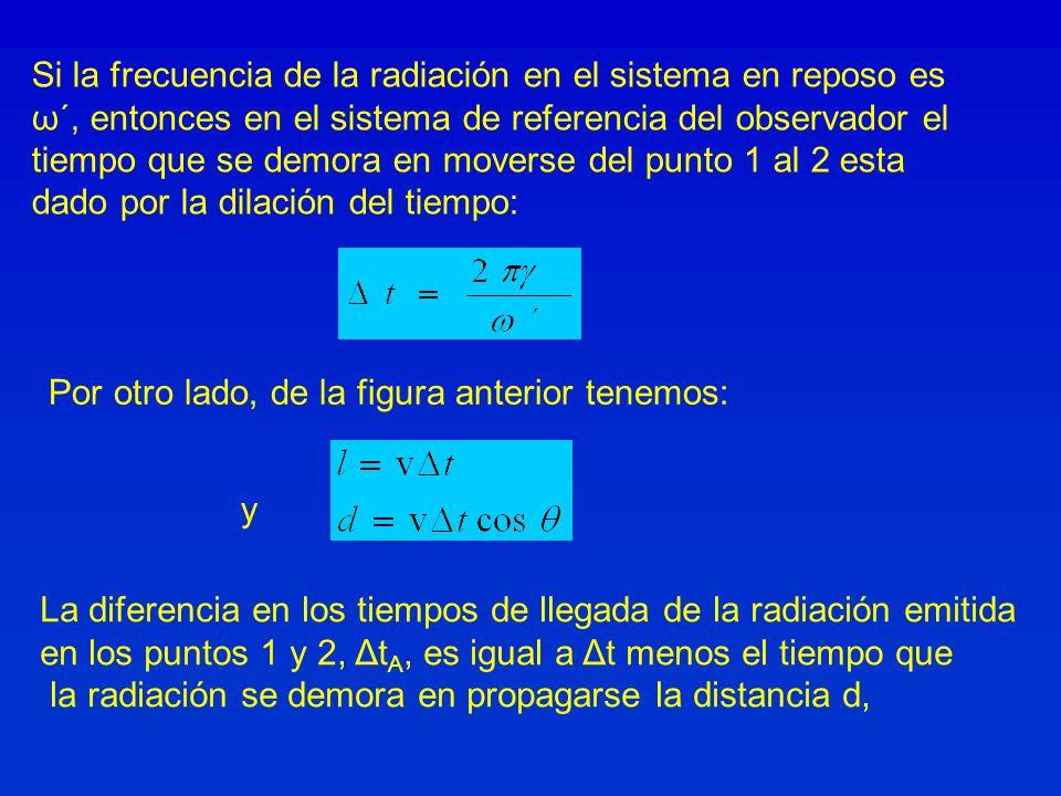 Si la frecuencia de la radiación en el sistema en reposo es
