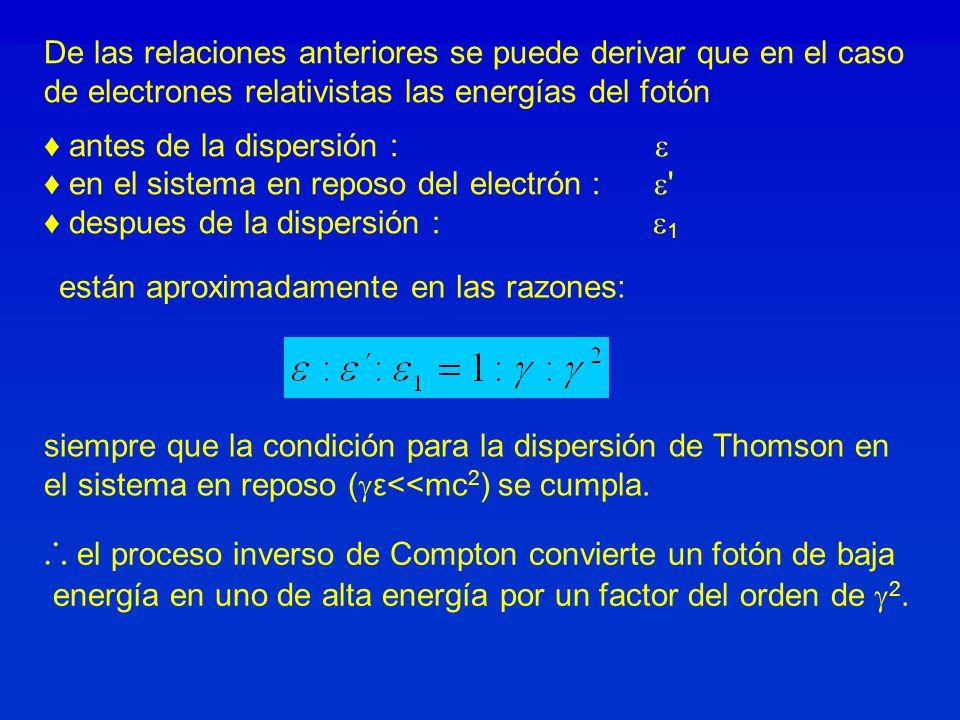 ∴ el proceso inverso de Compton convierte un fotón de baja