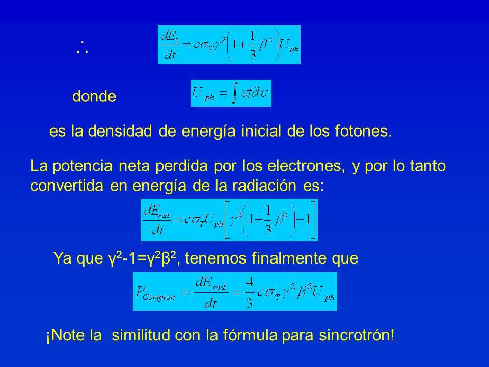 ∴ donde es la densidad de energía inicial de los fotones.