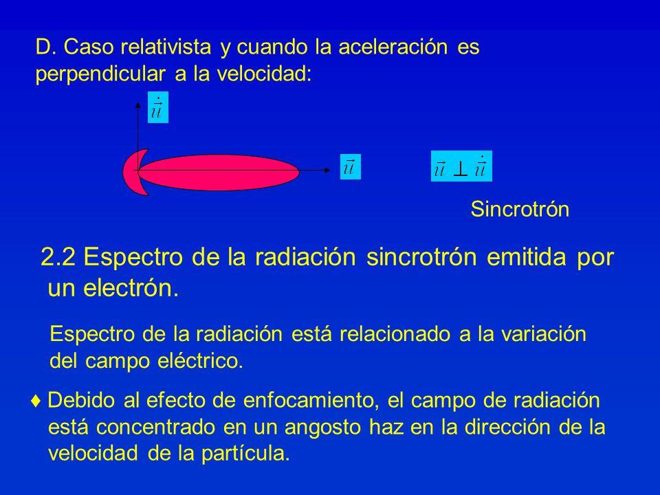 2.2 Espectro de la radiación sincrotrón emitida por un electrón.