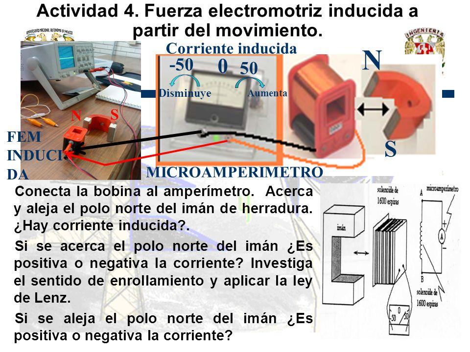 Actividad 4. Fuerza electromotriz inducida a partir del movimiento.
