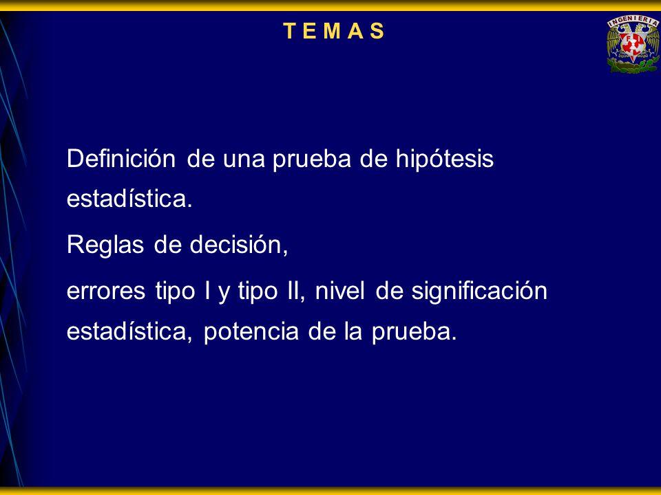 Definición de una prueba de hipótesis estadística.