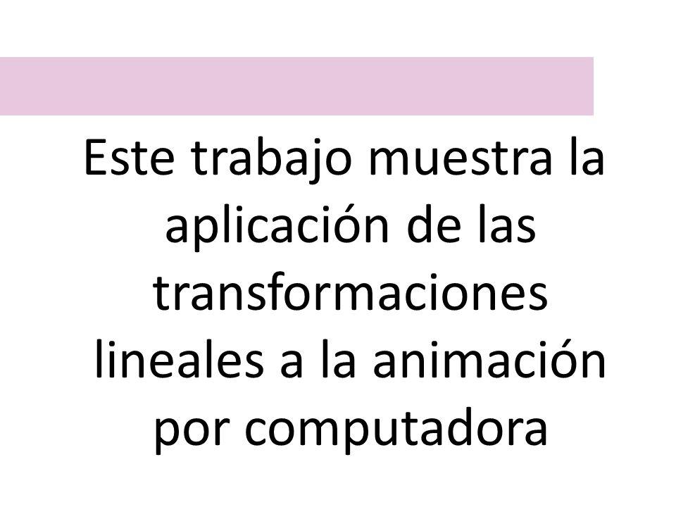 Este trabajo muestra la aplicación de las transformaciones lineales a la animación por computadora