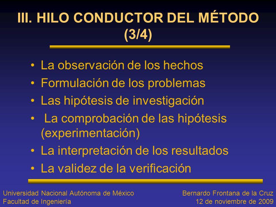 III. HILO CONDUCTOR DEL MÉTODO (3/4)